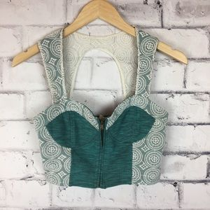 Pins & Needles blue/green lace top